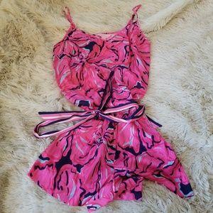 Lilly Pulitzer pink spaghetti strap romper XS